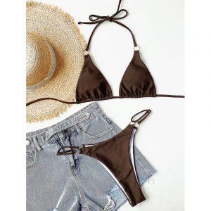 Sexy Micro Bikini 2021 Halter Swimsuit Women  Swimming Suit Triangle Swimwear Female Solid Bathing Suit - Brown - Large