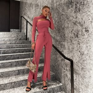 Casual Tracksuits Pants Suit Women Hollow Out Cropped Top And Split Straight-Leg Pants Autumn Slim Sportwear Sets New - Coral Red - Large