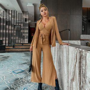 Elegant 3 Pieces Suits Office Ladies Blazer With Bandage Crop Top And Split Wide Leg Pants Autumn Winter Casual Sets New - Khaki - Large