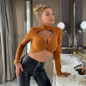 Knitted Solid Stand Collar Sexy Cropped Sweater Top Hollow Out Kink Basic Slim Office Ladies Elegant Sweater Autumn New - Khaki - Large