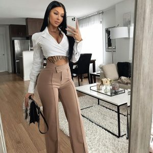 2021 Autumn And Winter Trousers Cropped Trousers Ladies - Khaki - Large