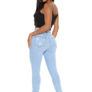 New Women Clothes Ripped Ripped Washed and Worn Skinny Casual Stretch Sexy Jeans - Light Blue - XX Large