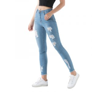 Style Jeans Women Ripped Stretch Washed Slim Fit Nostalgic Women Jeans - Blue - Extra Large
