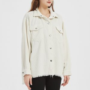 Ladies Autumn and Winter White Corduroy Shirt Coat Top - White - Large