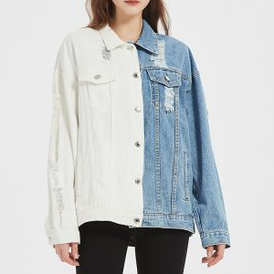 Women Cowboy Coat Autumn and Winter Color Matching Blue and White Jacket Top for Women - Blue and white - Large