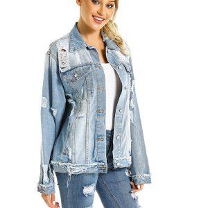 Denim Jacket Denim Jacket Women Long Ripped Women Jacket Plus size - Blue - Extra Large