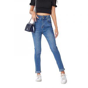 Jeans for Women Denim Skinny Pants Women Stretch Slim Jeans Women - Blue - Large