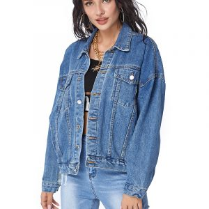 2021   New Arrival Women Denim Jacket Women Coat Sequin Denim Top Women - Blue - Extra Large