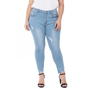 Plus Size  Style Jeans Women Ripped Stretch Washed Slim Fit Women Jeans - Blue - XXXX Large