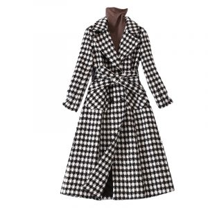 Thickened Houndstooth Woolen Coat 2021 Fall Winter Fashion Temperament Waist-Controlled Plaid Long Woolen Coat Female - Multi - XXX Large