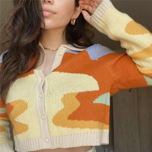 Autumn New Retro Painting Sweater Cardigan Coat Women Polo Collar Short Slimming Knitwear Top Fashion - Multi - One Size