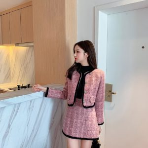 2021 Blazer Winter New Western Style Stylish Casual Tweed Woven Suit Two Pieces Set - Pink - Large