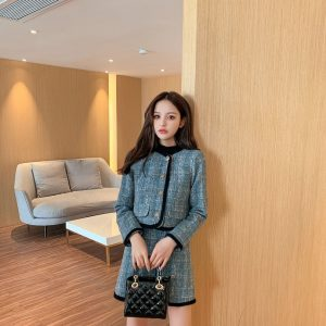 2021 Blazer Winter New Western Style Stylish Casual Tweed Woven Suit Two Pieces Set - Multi - Large
