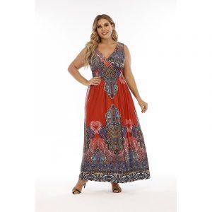 Bohemian Retro Pelis Large Size Dress Plump Girls Ice Silk Dress Long Dress Can Be Worn - Red - XXXXXX Large