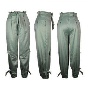 Women  Clothing   Women Pants Fashion Casual Pure Color Slimming Tether Skinny Pants - Light Green - XX Large