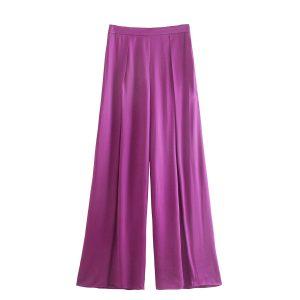 2021 Summer New Women Clothing  Style High Waist Silk Satin Texture Loose Wide-Leg Casual Pants Women - Multi - Large