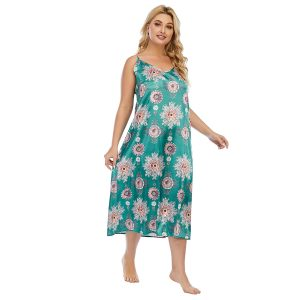 Mosha French Hepburn Style plus Size Slip Dress Satin Nightdress Fat Mm200 kg Can Wear Loose Long Dress - Green - XXXX Large