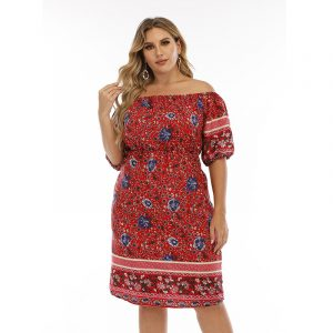 Bohemian Red Full-Figured Girls Dress off-Neck Loose Large Size Skirt - Red - XXXXX Large