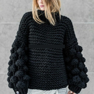 Autumn and Winter New  Style  Hand-Woven Ball Lantern Sleeve Pullover Sweater for Women Plus size - Black - XXXX Large