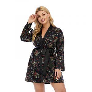 Halloween Skull plus Size Robe Artificial Silk Satin Spring and Autumn Black Graffiti Pajamas  Women Can Wear - Black - XXXXX Large
