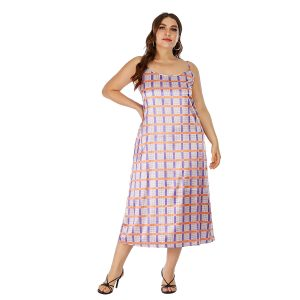 Fat Sister Large Size Suspender Dress Artificial Silk Satin Loose Long Dress Pajamas Can Be Worn outside - Pink - XXXXX Large