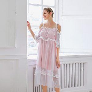 Victoria Style  Nightdress Dress Mesh Lace Stitching Homewear Plus Size - Pink - XXXX Large