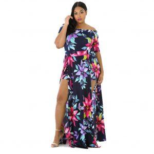 2021 Fashion Women  Wear Digital Printing One-Piece Split plus Size Dress - Navy Blue - XXXXX Large