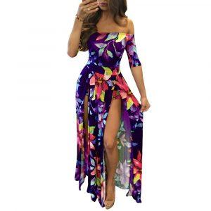 2021 Fashion Women  Wear Digital Printing One-Piece Split plus Size Dress - Purple - XXXXX Large