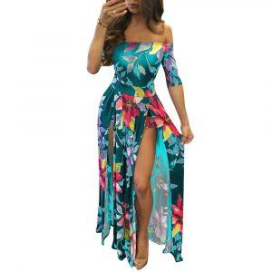 2021 Fashion Women  Wear Digital Printing One-Piece Split plus Size Dress - Green - XXXXX Large