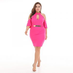2021 Plump Girls Spring and Summer New Large Size Women  Clothing  High Waist Slimming Knitted Dress - Pink - XXX Large