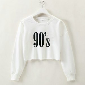 2021 Autumn and Winter  90S Letter Printing Cropped Long Sleeves Women Clothing Top - White - Large