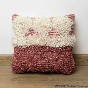 Cushion  JHC-8597  Ivory Fuschia  18x18