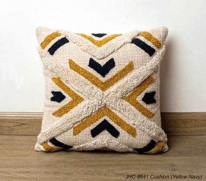 Cushion  JHC-8641  Yellow Navy  16x16