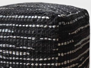 Hand Woven JHP Poufs Black Silver 16x16x16 inch