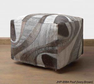 Jacquard JHP Poufs Ivory Brown 20x20x14 inch