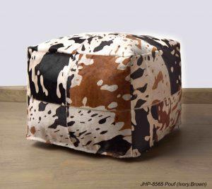 Handmade JHP Poufs Ivory Brown 20x20x14 inch
