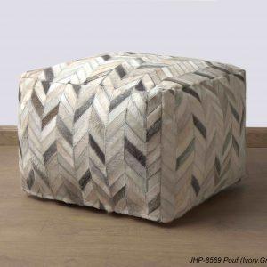 Handmade JHP Poufs Ivory Grey 20x20x14 inch