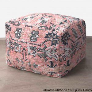 Jacquard Maxima Poufs Pink Charcoal 20x20x14 inch