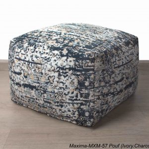 Jacquard Maxima Poufs Ivory Charcoal 20x20x14 inch