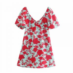 2021  Autumn New French Style Front and Back V-neck Red Printed Puff Sleeve Dress Female - Red - Large