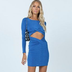 2021  Summer New Sexy Hollow Exposed Navel Twisted Long-Sleeved Dress Women - Blue - Large
