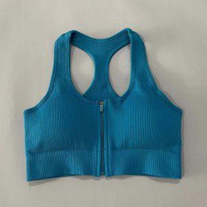 Sports Underwear Women Shock-Absorbing Beauty Back Outer Wear Bra Summer Training Bra Running Yoga Workout Bra - Pale blue - Large