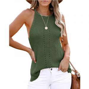 2021  Summer Women Clothing New  Loose Halter Vest Knitted Beach Women Plus size - Green - XXX Large