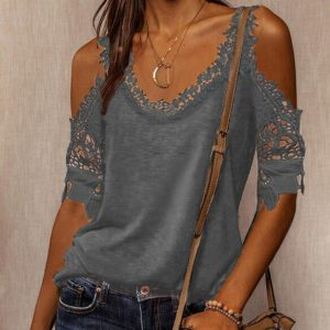2021 Autumn New Women Loose Casual Solid Color Lace Shoulder Strap T-shirt - Gray - XX Large
