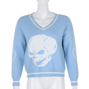 2021 Spring Autumn  New Blue Color V-neck Long Sleeve Sweater Knitwear - Blue - XXX Large