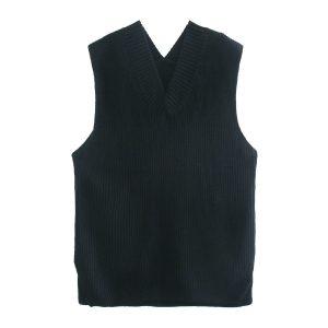 2021  Women Clothing   Loose Split V-neck Sleeveless Knit Vest Vest Mid-Length Sweater - Black - Large