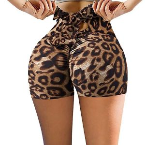 2021  New Shorts   Printing Bow Back Waist Yoga Pants Women Pants - Leopard - XX Large