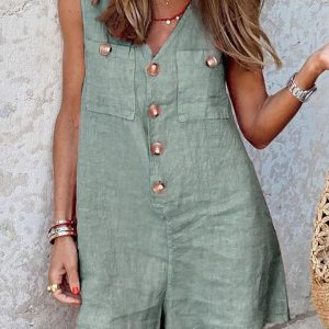 2021 New  Women Clothing Cotton and Linen V-neck Buttons Patch Pocket Vest One-Piece Shorts - Green - XX Large