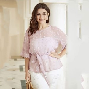 New Temperament Commute Bottoming Shirt plus Size Women Clothes Top - Pink - XXXX Large