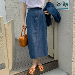 Women Clothing Summer New Retro Simple Single-Breasted Denim Shirt Skirt Two-Piece Set Fashion Suit - Skirt - One Size